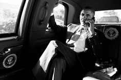 President Barack Obama holds a conference call with advisors to discuss the Aurora, Colorado shootings, during the motorcade ride to Palm Beach International Airport in Palm Beach, Fla., July 20, 2012. Briefing the President by phone are FBI Director Robert Mueller, Chief of Staff Jack Lew, and John Brennan, Assistant to the President for Homeland Security and Counterterrorism. (Official White House Photo by Pete Souza)