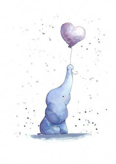 Original Watercolor Painting nursery art on Etsy also available as print version or personalized with name birth date etc Original Aquarellbild 24 x 32 cm auch als Prin. Watercolor Lettering, Watercolor Illustration, Watercolor Paintings, Original Paintings, Kids Watercolor, Nursery Paintings, Nursery Art, Name Paintings, Elephants Playing