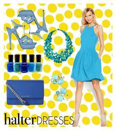 """Halter Dress"" by betterthanbalmain ❤ liked on Polyvore featuring Jennifer Paganelli, Calvin Klein, TravelSmith, Zoya, MICHAEL Michael Kors, Yves Saint Laurent and Ippolita"