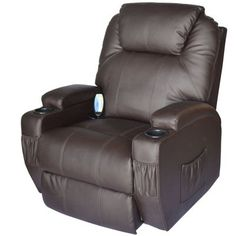 HomCom Deluxe Heated Vibrating PU Leather Massage Recliner Chair - Brown Lay back, relax and get a massage with this HomCom massaging recliner lounge chair. Swivel Recliner Chairs, Leather Recliner Chair, Lounge Sofa, Sofa Chair, Chaise Sofa, Chair Pads, Leather Reclining Sofa, Brown Sofa, Shopping