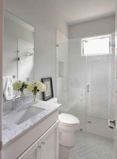 Frameless shower door makes the bathroom look bigger. Frameless Shower Doors for Bathroom – 22 Pics Upstairs Bathrooms, Basement Bathroom, Master Bathrooms, Small White Bathrooms, Tile Bathrooms, Dream Bathrooms, Gray And White Bathroom Ideas, Small Bathroom Redo, Master Baths