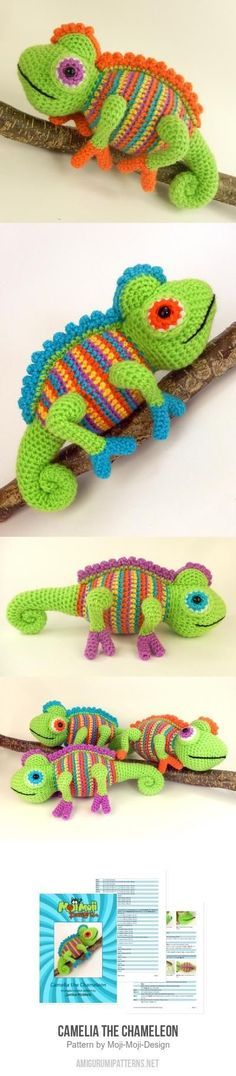 Camelia the Chameleon amigurumi pattern by Janine Holmes at Moji-Moji Design: