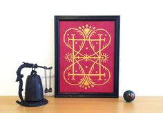 Gold Myst Design on Rich Magenta Pink Paper  by DragonflightDreams