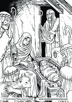 Nativity - Graham Kennedy Coloring Page - Adult Coloring Nativity Coloring Pages, Bible Coloring Pages, Christmas Coloring Pages, Adult Coloring Pages, Coloring Sheets, Coloring Books, Free Coloring, Christmas Nativity, Christmas Bells
