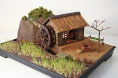 Hakoniwa Japanese Miniature WaterMill Kit - HO scale with working water wheel and planted with living plants by Lynne Coat Miniature Crafts, Miniature Houses, Japanese Style House, Hamster House, Popsicle Stick Crafts, Small Ponds, Garden Structures, Water Garden, Garden Plants