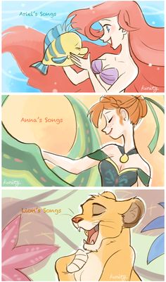 The little mermaid. Frozen (anna) the lion King.