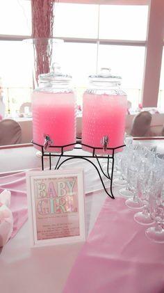 Girl elegant baby shower pink and white