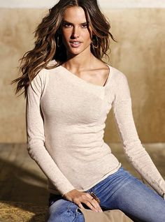 VS Ruched cotton asymmetric sweater in blonde heather. $39.50