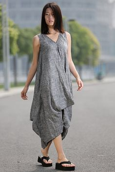 Maxi Dress Loose Fitting Sundress Sleeveless Summer Dress in Gray-CF007