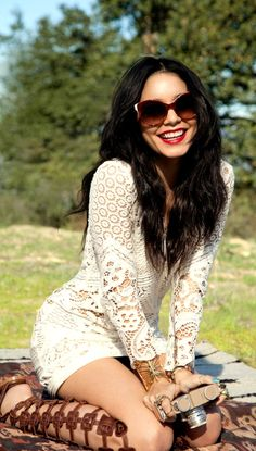 Vanessa Hudgens ♥ Summer Outfit : Crochet/ Lace white dress with gld Gladiator sandals, Big sunglasses& red lips.