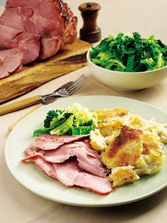 Salty gammon is sweetened with maple syrup and given a kick with wholegrain mustard in this seriously tasty recipe served with a creamy potato gratin. Gammon Recipes, Ham Recipes, Steak Recipes, Cooking Recipes, Healthy Recipes, Recipies, Savoury Recipes, Healthy Dinners, Family Recipes