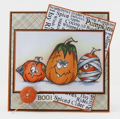 The middle pumpkin 'wobbles'.  Just love these stamps.  Card from My Noteworthy Cards