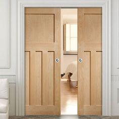 Bespoke DX Oak Panel Double Pocket Door in a Style Double Pocket Door, Pocket Door Frame, Sliding Pocket Doors, Sliding Door Systems, Oak Doors, Panel Doors, Entrance Doors, 1930s Doors, 1930s Internal Doors