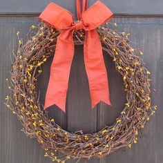Primitive Fall Wreath, Pip Berry Wreath for Autumn / Fall Door Decor, Thanksgiving Front Door Hanger