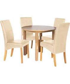Buy Elmdon Oak Circular Dining Table and 4 Cream Chairs at Argos