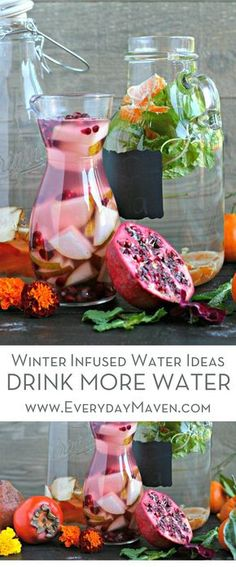 These Winter Infused Water Ideas are a beautiful and delicious way to stay on track and drink enough water in the winter. Perfect for every holiday party! Done in partnership with PUR. via @EverydayMaven