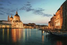 LED Lighted Venice City Italy Sunset Scene Photographic Print on Canvas