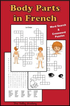 French Body Parts Worksheet - Tree Valley Academy Free Printable Word Searches, Free Printable Worksheets, Worksheets For Kids, Free Printables, Learning French For Kids, French Language Learning, Teaching French, Foreign Language, French Lessons For Beginners