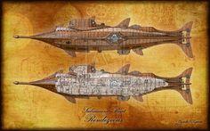 _Rendezvous_ starboard longitudinal illustration by Ricardo Garcia, ~Coscomomo on deviantART Coscomomo.deviantart.com/ | Inspired by Disney's _Nautilus_ | Via Steampunk'd #nautilus