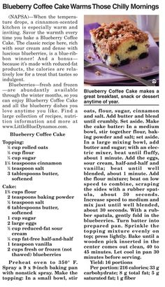 Sweet and crunchy Blueberry Coffee Cake! #coffee cake #blueberry #recipes  Can't get enough recipes? Visit www.TheGuide.com and click on 'Recipes'.