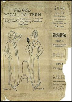 Vintage Pattern Lending Library by VintagePatternGirl Mccalls Patterns, Vintage Sewing Patterns, Clothing Patterns, Fashion 1920s, Vintage Fashion, 20s Dresses, 20th Century Fashion, Historical Clothing, Pjs