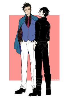 Stylish Magnus in suite and Alec with his own style but a bit more stylish than usual ...  Drawn by honezakana ... alexander 'alec' lightwood, magnus bane, the mortal instruments