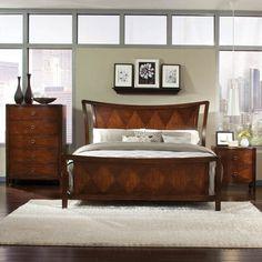 Standard Furniture Park Avenue II 3 Piece Sleigh Bedroom Set in Dark Golden Brown - BEYOND Stores