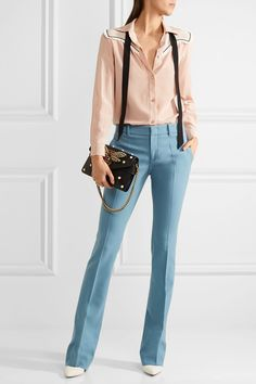 Gucci - Stretch-wool Flared Pants - Sky blue - IT44