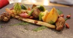 Ris d'agneau chorizo et légumes. Restaurant de l'hôtel de l'Univers à Villefranche de Rouergue