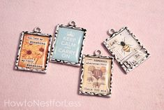 Make your own unique necklace charms using vintage inspired free printables.