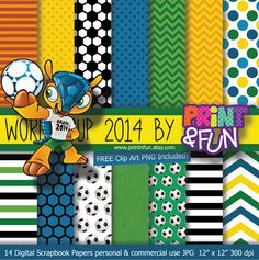World Cup Brazil 2014 Fuleco Digital Paper Patterns by Printnfun, €3.00