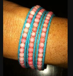 turquoise leather with coral beads in a triple wrap bracelet