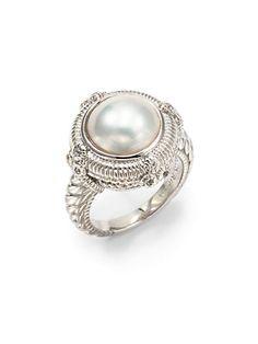 Judith Ripka - 12MM White Mabe Pearl, White Sapphire & Sterling Silver Ring - Saks.com