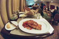 overpriced salmon with onion. Restaurant Vouchers, Onion, Salmon, Meat, Chicken, Food, Onions, Essen, Meals