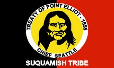 Chief Seattle's own Suquamish people also remember their great chief. Residents of the Port Madison Reservation (NAA, 285) on the western shores of Puget Sound across from Seattle, they display his image on their flag. Made on the reservation, the flag is divided in half vertically-the left half is black, the right half is red. A large yellow oval-oriented lengthwise-bears a portrait of Chief Seattle in black