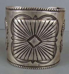 SUPER Heavy WIDE Stamped Silver Cuff Bracelet By JESSE ROBBINS Creek Tribe 147g #JesseRobbins