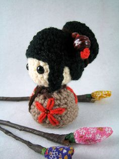 Noriko, an amigurumi kokeshi doll by AmigurumiFriendsStudio, via Flickr