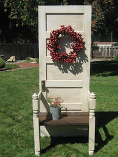 Rose Colored Glasses: A Door/Hall Tree!  Making a beautiful chair from and old door...