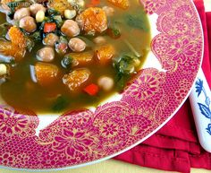 Spicy Butternut Squash and Chickpea Soup Recipe Soups with olive oil, yellow onion, carrots, celery, sea salt, black pepper, garlic, Mexican oregano, ground cumin, chile powder, ground red pepper, vegetable broth, butternut squash, chickpeas, swiss chard