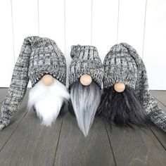 Neutral gray winter gnomes with sweater hats. Cozy knit hat gnomes for your home. Crochet Christmas Hats, Crochet Christmas Decorations, Winter Christmas Gifts, Christmas Gnome, Xmas, Tacky Christmas, Woodland Christmas, Crochet For Kids, Free Crochet