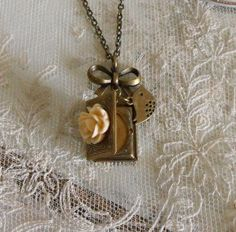 Book Locket  Necklace Rose Bird Antique by CreativePleasuresEtc, $14.00