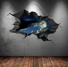Wall Decal Earth Moon Space Planet Galaxy Cracked 3d Wall Sticker Stars Mural Decal Graphic Wall Art Boys Bedroom Wall Stickers