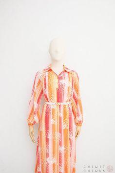 c9f82456f55 Vintage 70s Dress Japanese Vintage Dress Orange White