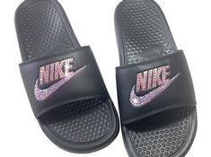 1e6841e876 Women's Nike Sandals -Rose Gold Nike Slides Bedazzled Bling Nike JDI