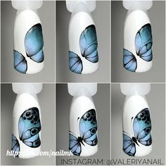 Nail Art Modele, Seashell Nails, Nail Art Designs Videos, Butterfly Nail Art, Animal Nail Art, Almond Nails Designs, Orange Nails, Nail Decorations, Nail Art Diy