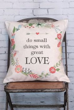 Do Small Things With Great Love Pillow Cover Floral Wreath Fall Decor