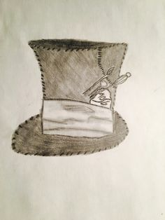 Mad Hatter hat drawing