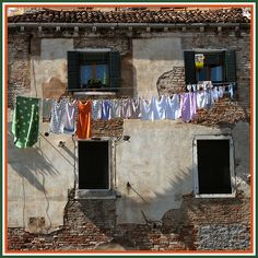 Laundry Lines, Laundry Art, Laundry Drying, Laundry Room, Window Reveal, Acrylic Artwork, Venice Travel, Water Art, Windy Day