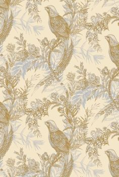 Pheasant  £96.00 Per Roll  Pheasant Wallpaper  Color: Grey & Ochre on Cream  Width (mm): 520  Repeat (mm): 1022  Style: Quarter Drop  Material: 150gsm sustainable forest paper  Roll length (metres): 10 metres