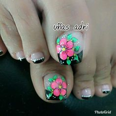 galería Pedicure Designs, Pedicure Nail Art, Toe Nail Designs, Nail Polish Designs, Cute Toe Nails, Diy Nails, Pretty Nails, Feet Nail Design, Vacation Nails